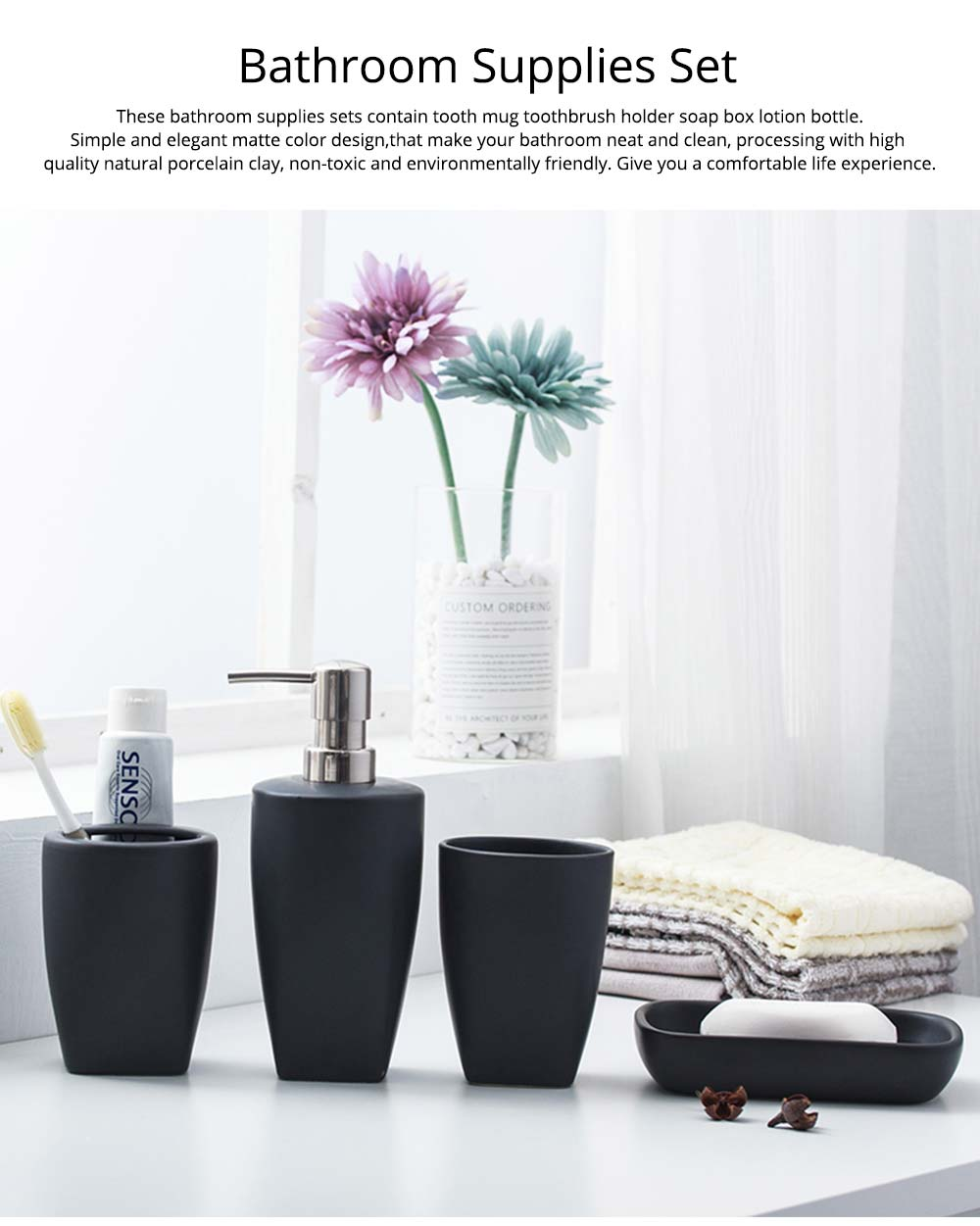 Multi-color Ceramic Bathroom 4 PCS Suits Nordic Minimalist Style Matte Bathroom Supplies Tooth Mug Toothbrush Holder Soap Box Lotion Bottle 0