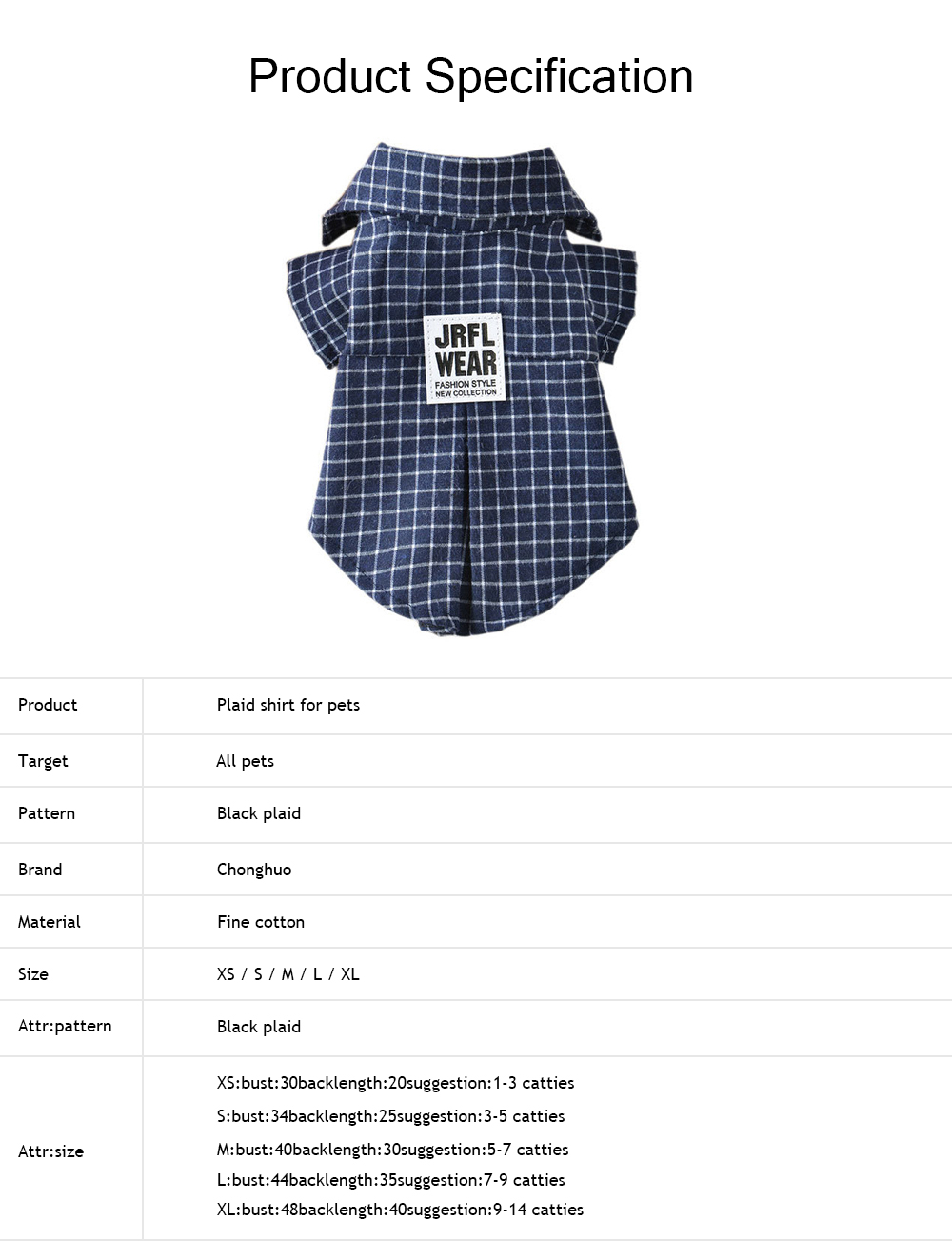 Fashionable Plaid Pet Clothing, Nontoxic and Fine Cotton Cloth for Pets, Dog and Cats Clothes Spring Summer 5