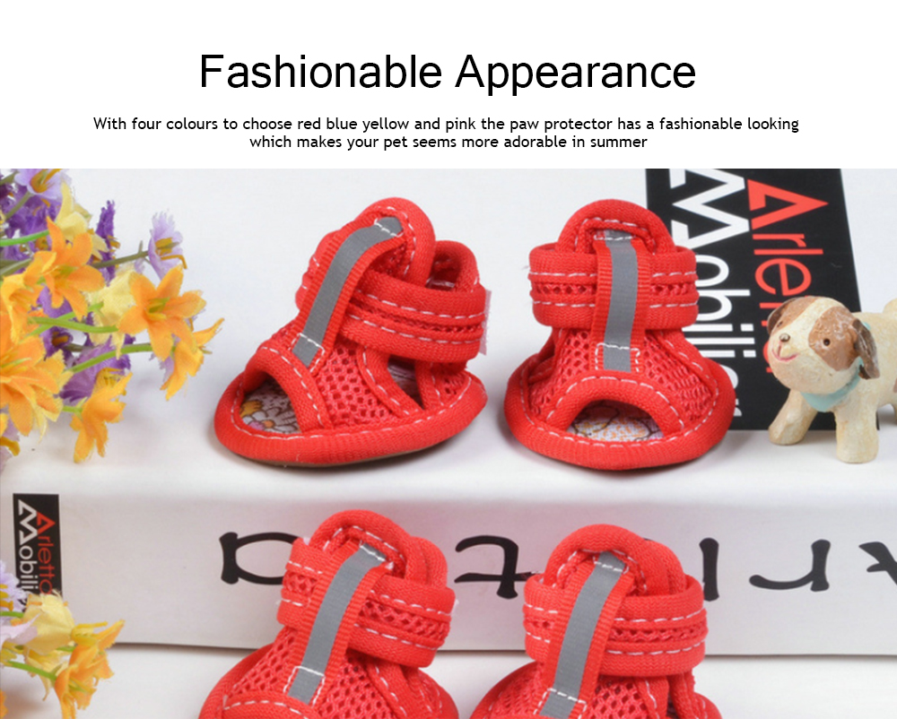 Fashionable Pet Sandals, Comfortable Breathable Mesh Paw Protectors for Spring Summer 2019 4