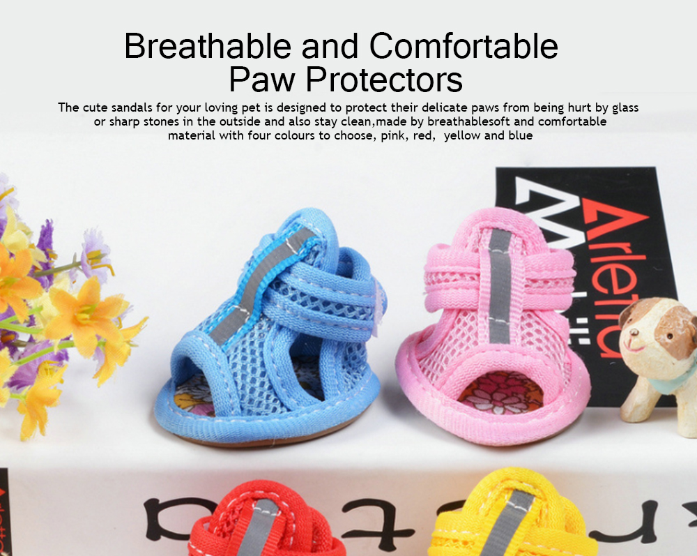 Fashionable Pet Sandals, Comfortable Breathable Mesh Paw Protectors for Spring Summer 2019 0