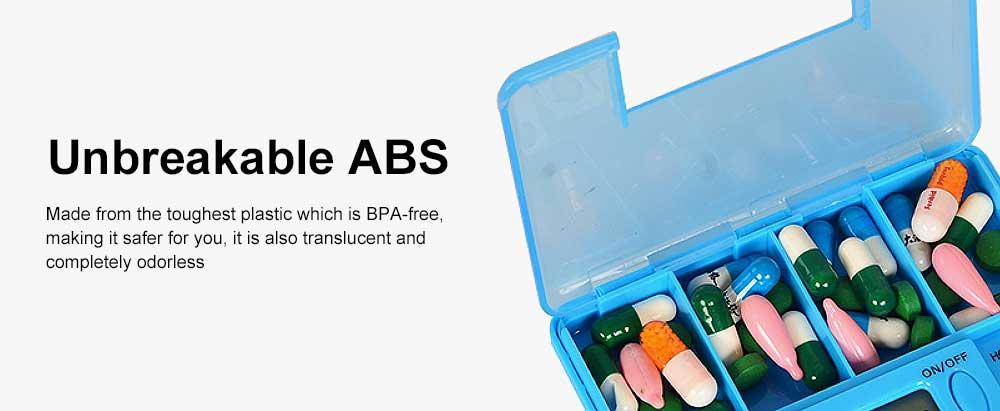 Electronic Pill Dispenser Timer Alarm Pill Box Organizer 4 Compartments Medicine Box 3