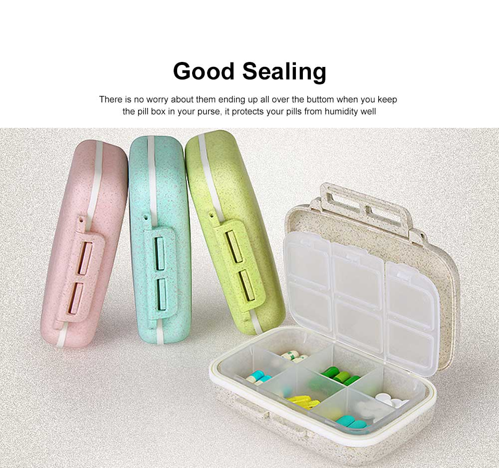 Natural Fiber Weekly Pill Organizer Supplement Case with Plastic Gasket Compartment Design for Handbag 3