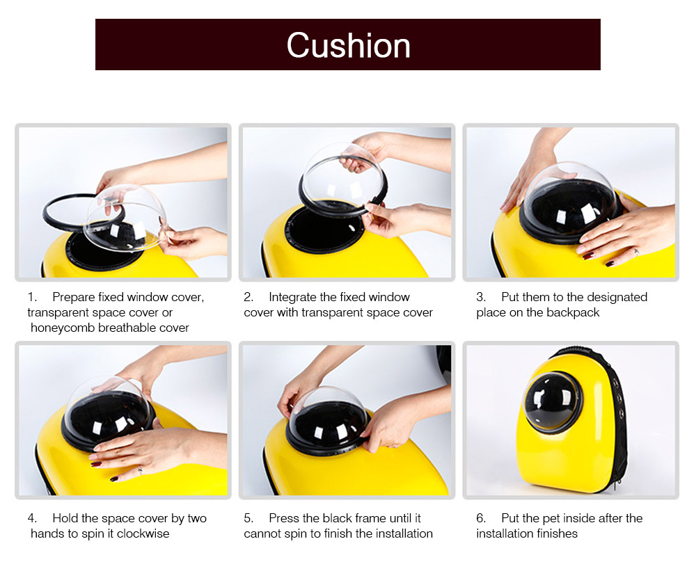 Fashionable Large Pet Backpack for Moderate and Small Size Dog and Cat, Portable Travel Pet Carrier Space Capsule Bubble Design 16