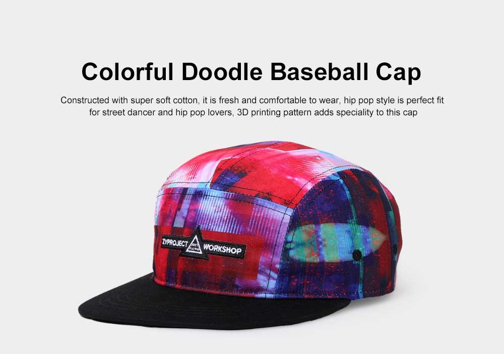 New Colorful Doodle Baseball Cap Women Men Street 3D Printing Hip Pop Cap 0