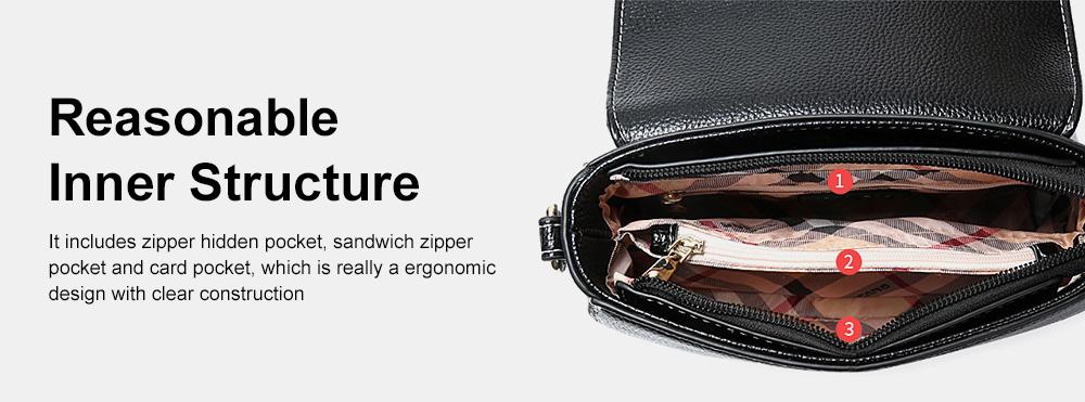 Stylish Women Shoulder Bag Compact PU Messenger Bag with Metal Buckle Spacious Storage Space 3
