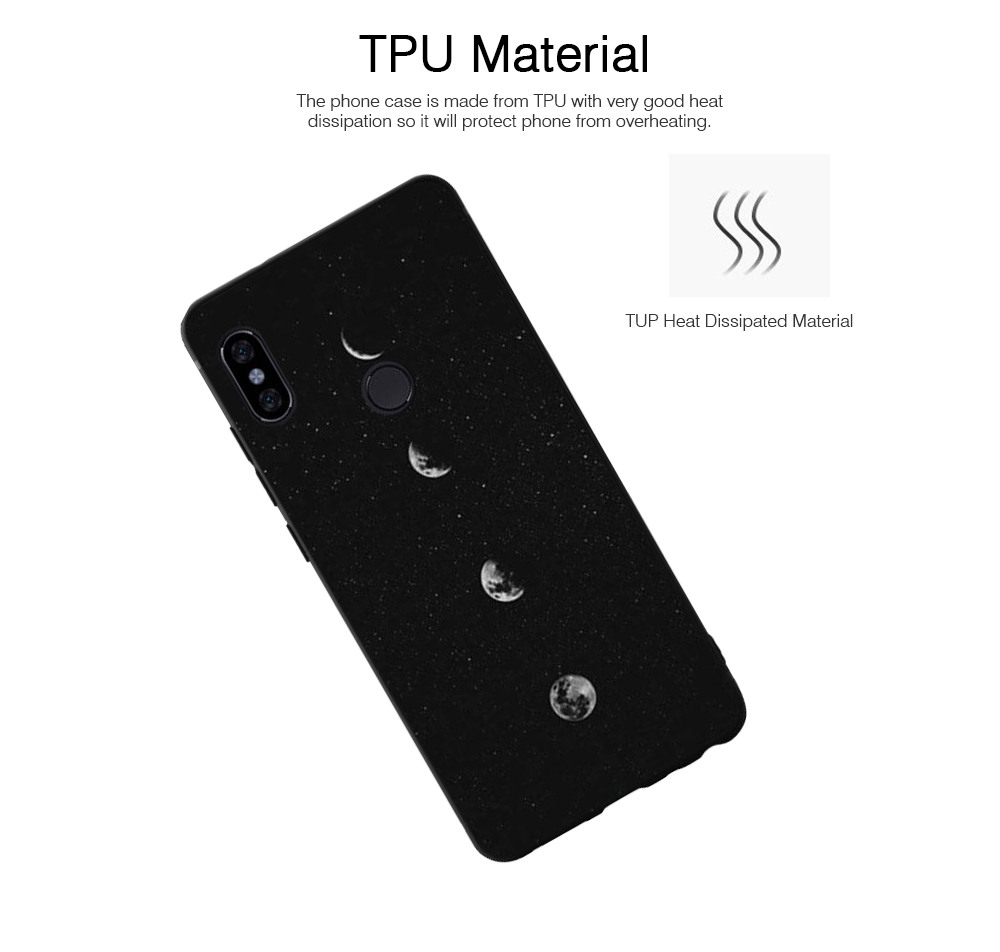Soft Silicone Phone Case for Xiaomi 8, Color-Painted Moon Change Pattern Xiaomi 6X Phone Case 1
