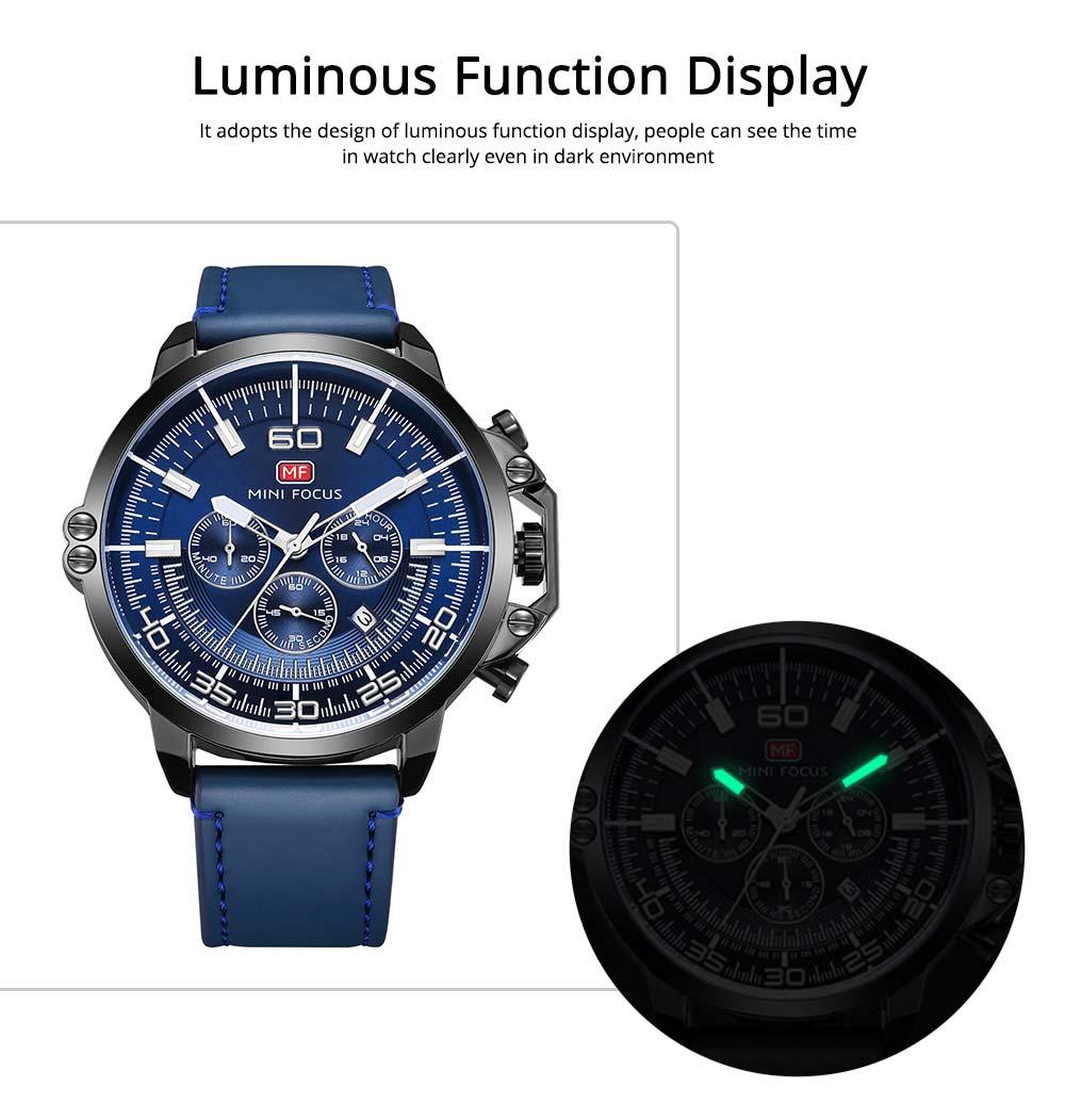 Waterproof Business Luxury Quartz Wrist Watch for Man, Genuine Leather Strap Band, Luminous Calendar Function 4
