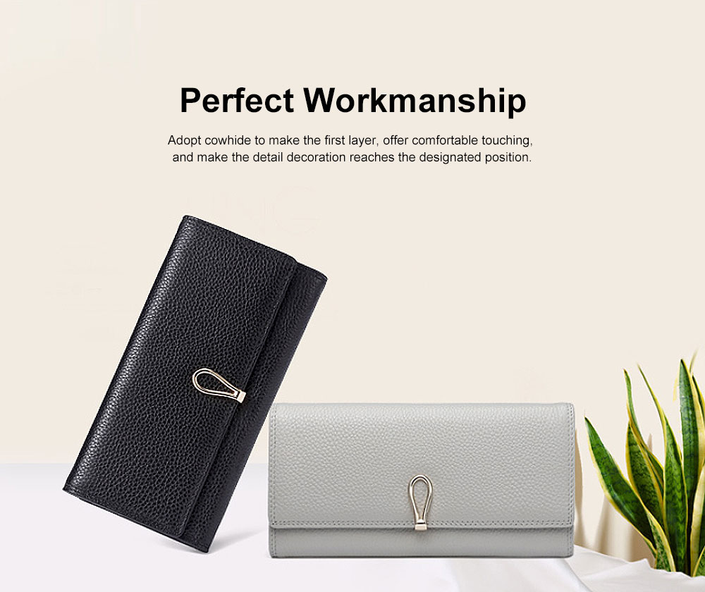 2019 Women's New Purse , Korean-style Vertical Genuine Bills Money ID Card Credit Wallet Purse, Fashion Handbag Clutch Purse 1
