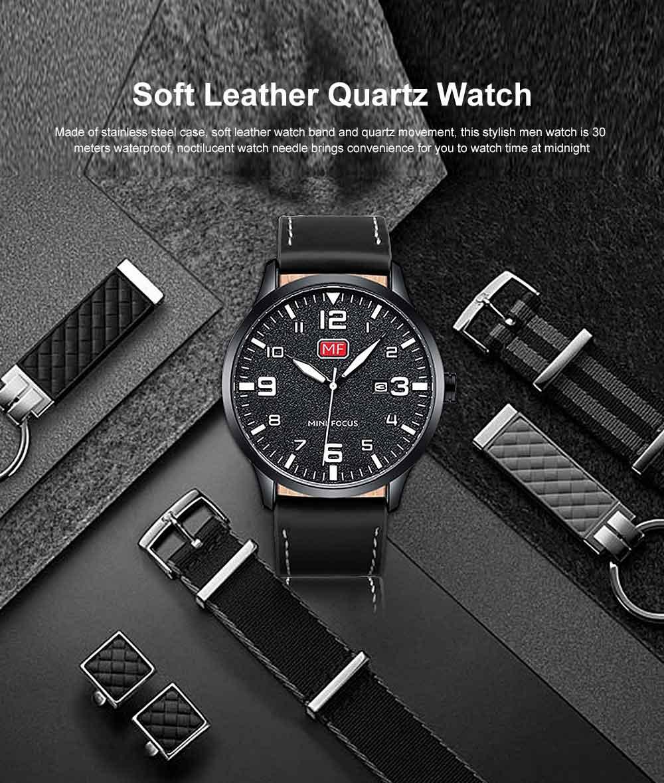 Men Super Thin Large Watch Dial Waterproof Soft Leather Quartz Watch with Calendar Date 0