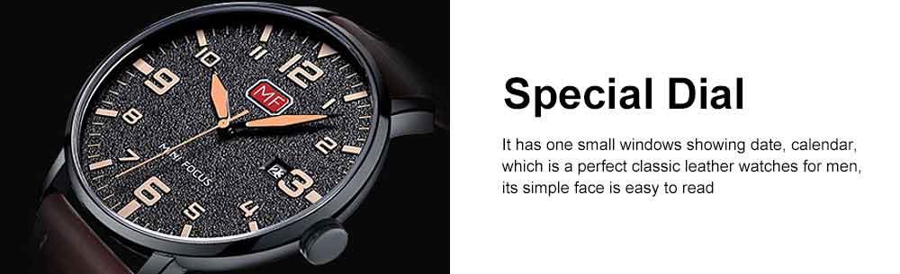 Men Super Thin Large Watch Dial Waterproof Soft Leather Quartz Watch with Calendar Date 4