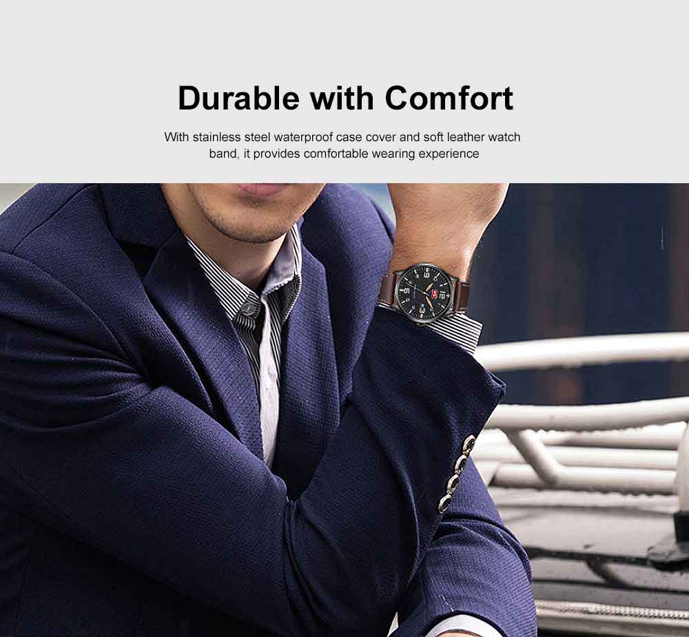 Men Super Thin Large Watch Dial Waterproof Soft Leather Quartz Watch with Calendar Date 3
