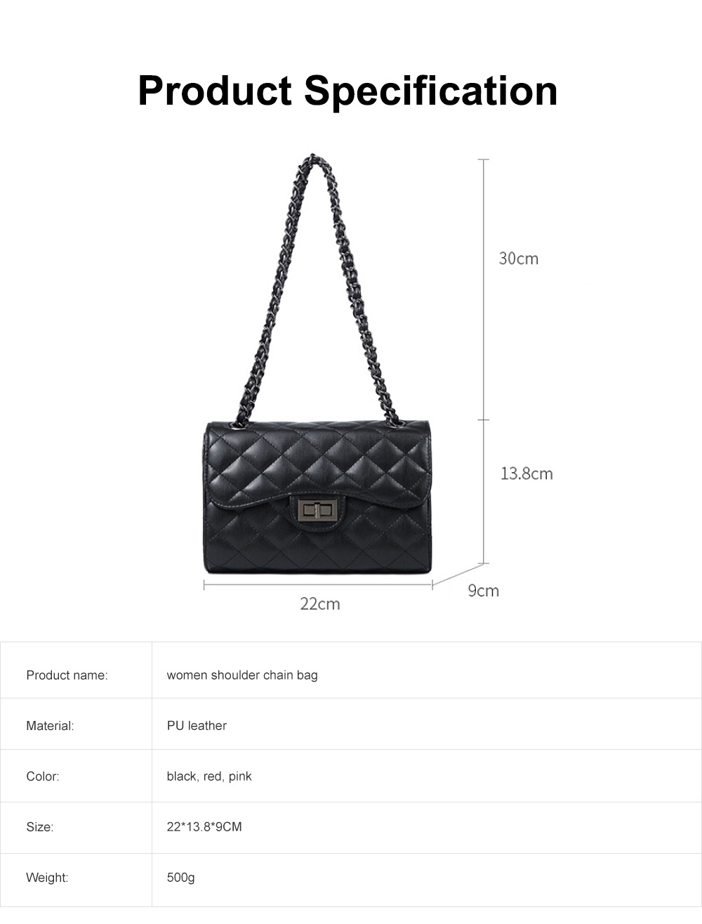 Fashionable Small Women Shoulder Bag with Rhombus Pattern Chain Casual Bag Messenger Bag 6