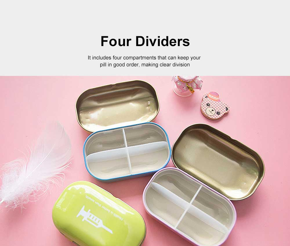Mini Cute Candy Color Pill Box Diverse Patterns Iron Pill Case Four Compartments for Pill Vitamin 1