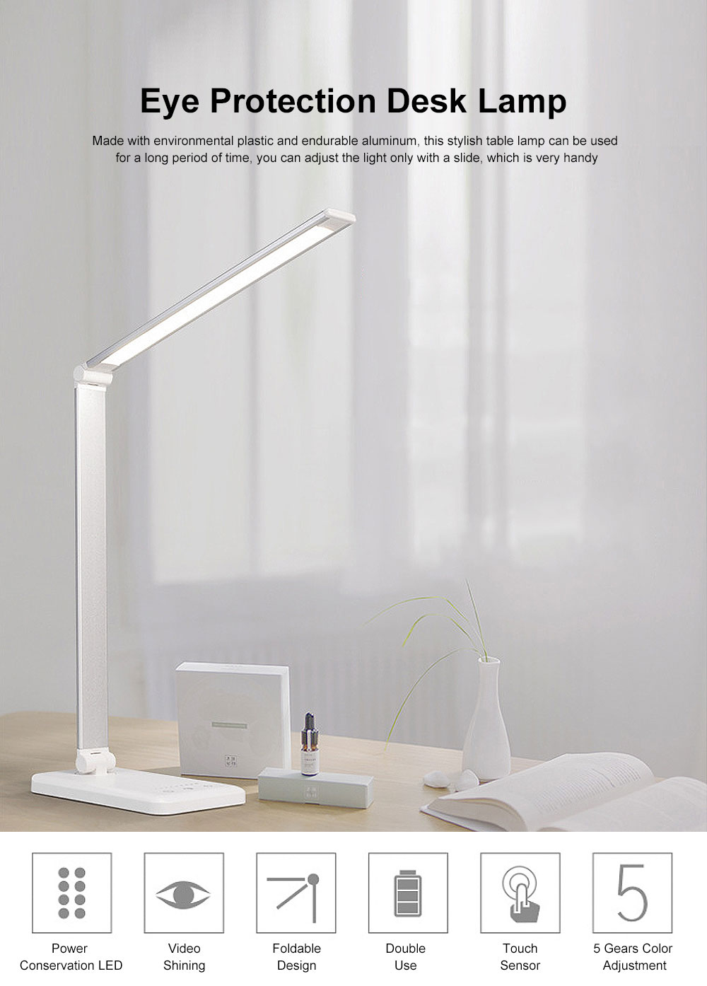 Eye Protection Desk Lamp LED Soft Light 5 Gears Adjustment Time Setting Function Minimalist Table Lamp 0
