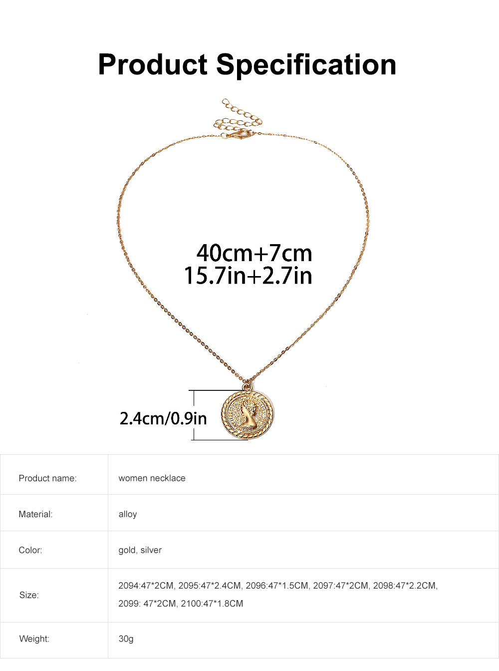 Retro Multi-elements Personalized Pendant Necklace Minimalist Cameo Pattern Neck Chain 6