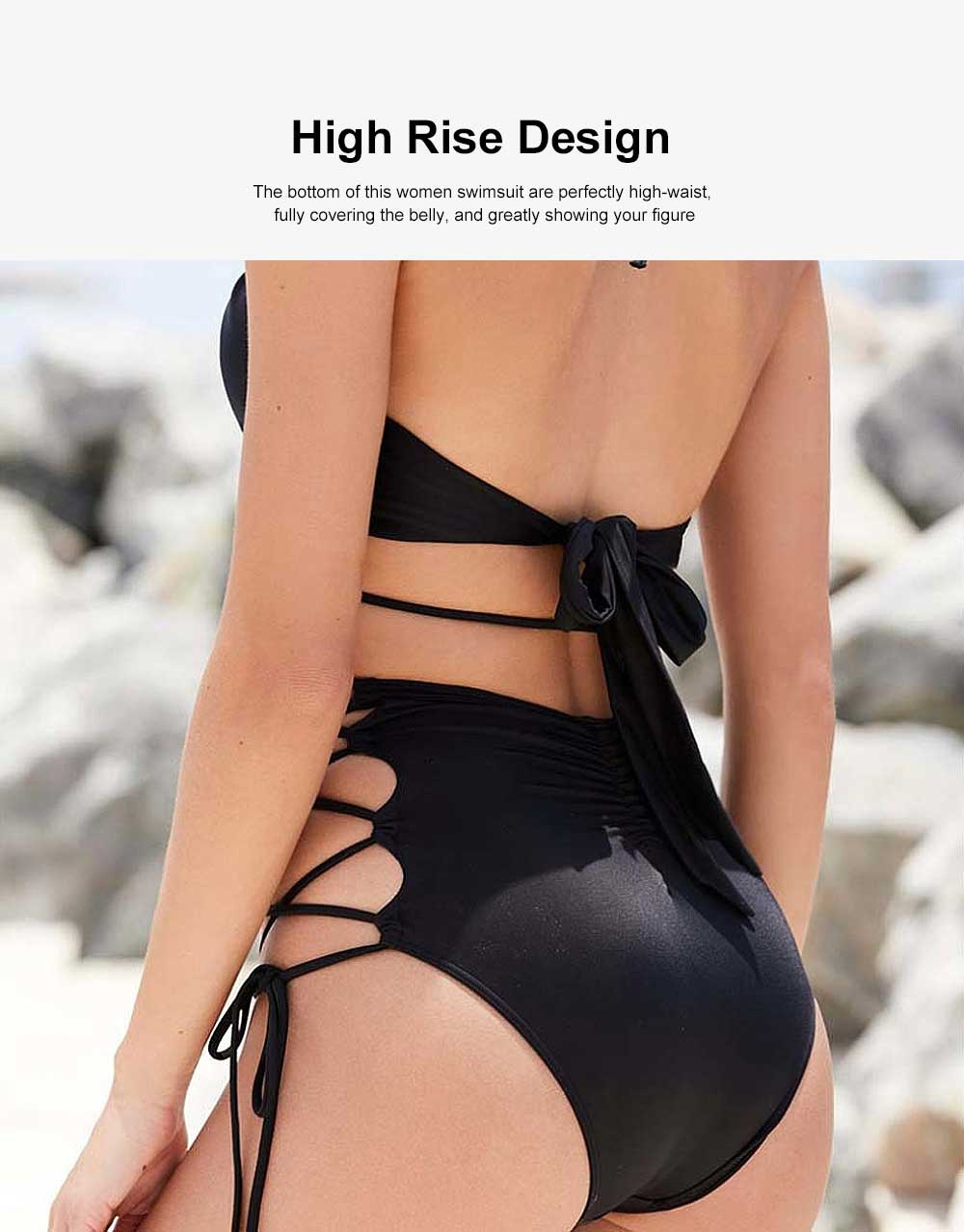 Women Retro Halter Neck Fashionable High Waist Two Piece Bikini Set Swimsuit with Stylish Design 3