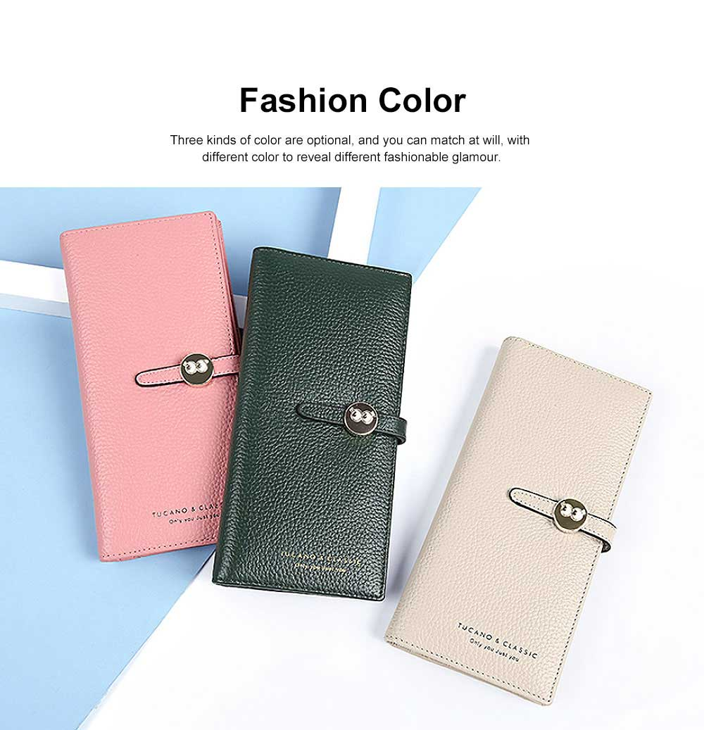 Women Vertical Purse, Lovely Bills ID Card Credit Wallet Purse, Genuine Leather Purse Cowhide Surface for Girl 1