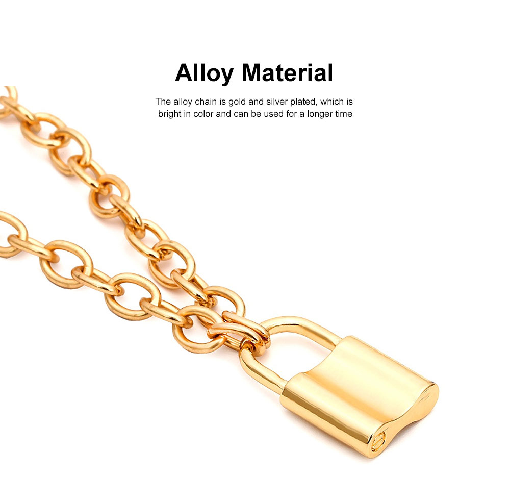 Women Locker Pendant Thick Cable Chain Necklace Sweater Fashion Jewelry Clothing Ornament 3
