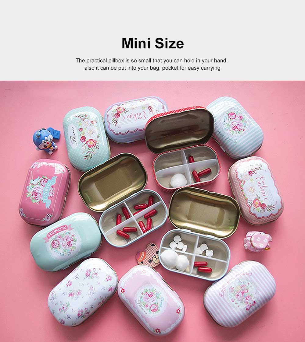 Mini Cute Candy Color Pill Box Diverse Patterns Iron Pill Case Four Compartments for Pill Vitamin 3