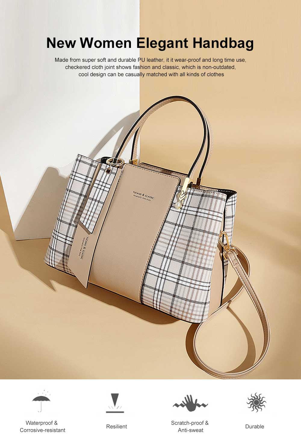 New Women Elegant Handbag Stylish Color Checkered Cloth Joint Spacious Shoulder Bag 0