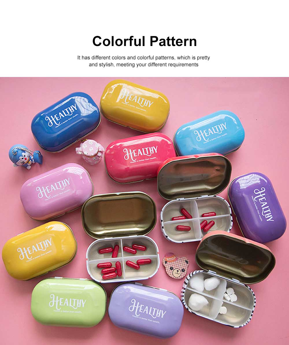 Mini Cute Candy Color Pill Box Diverse Patterns Iron Pill Case Four Compartments for Pill Vitamin 2