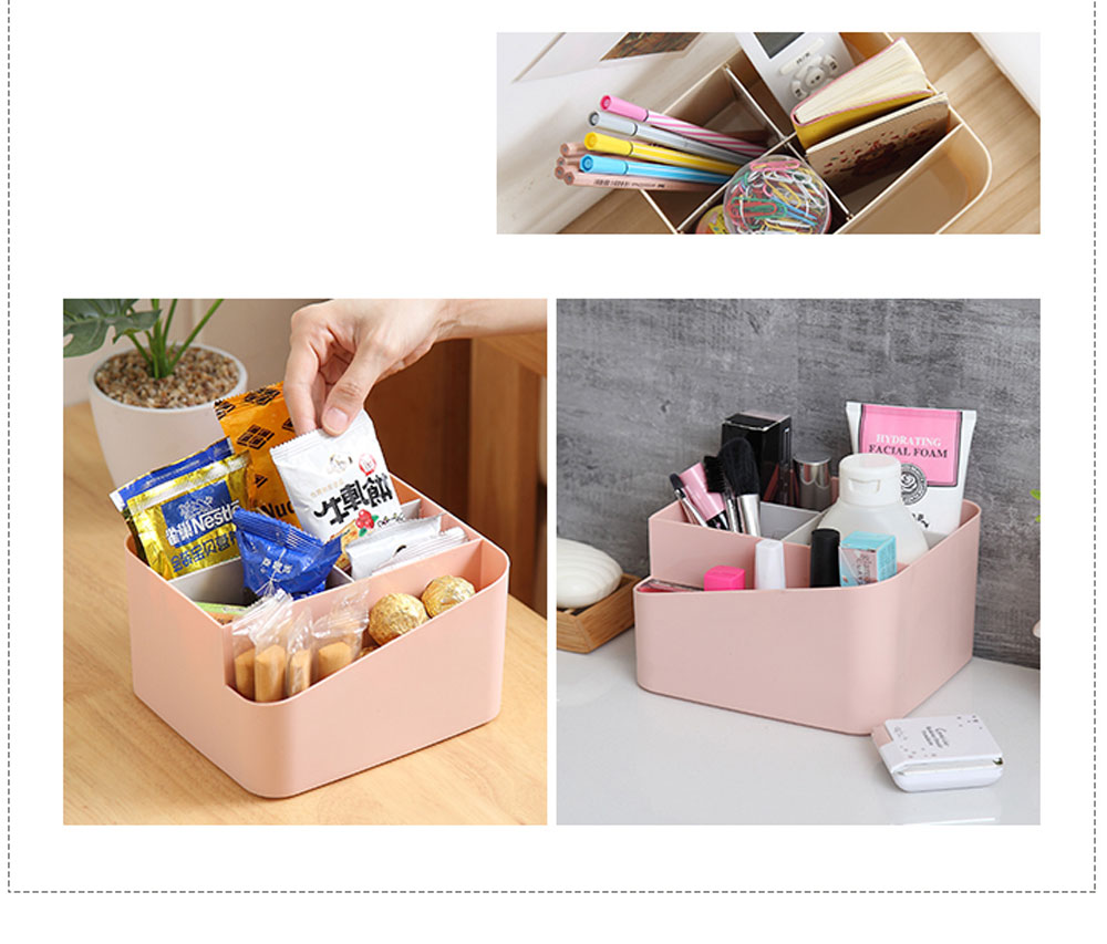 Household Multifunctional Sundries Storage Box, Small Size Desktop Organizer Box with Lid 2