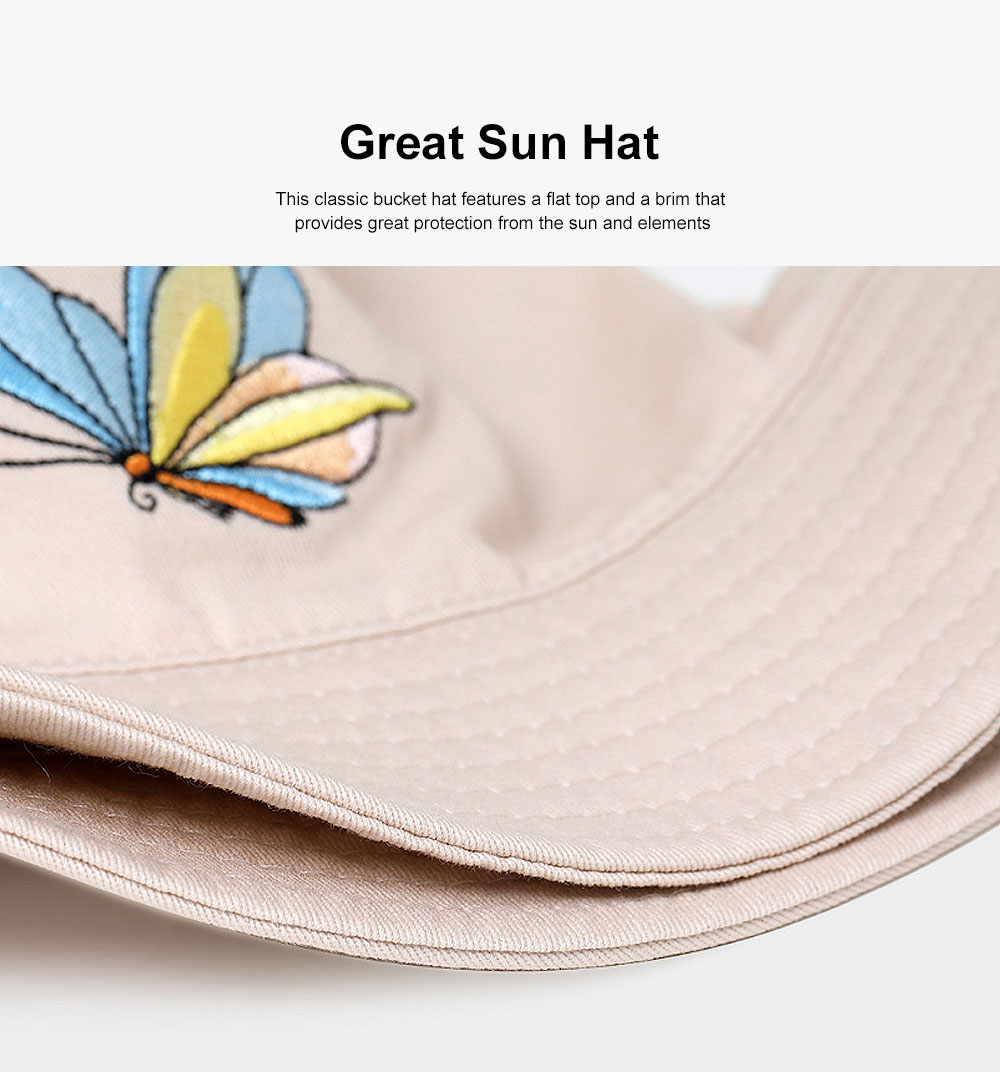 Outdoor Embroider Double Women Bucket Hat Sunscreen Stackable Cotton Hat for Fishing Hiking Climbing 2