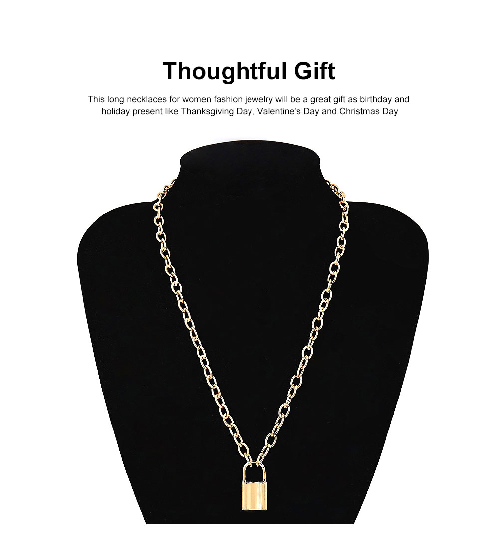 Women Locker Pendant Thick Cable Chain Necklace Sweater Fashion Jewelry Clothing Ornament 5