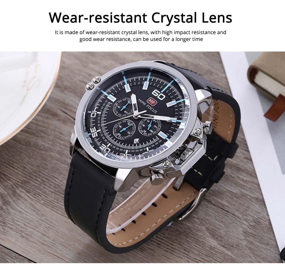 Waterproof Business Luxury Quartz Wrist Watch for Man, Genuine Leather Strap Band, Luminous Calendar Function 5