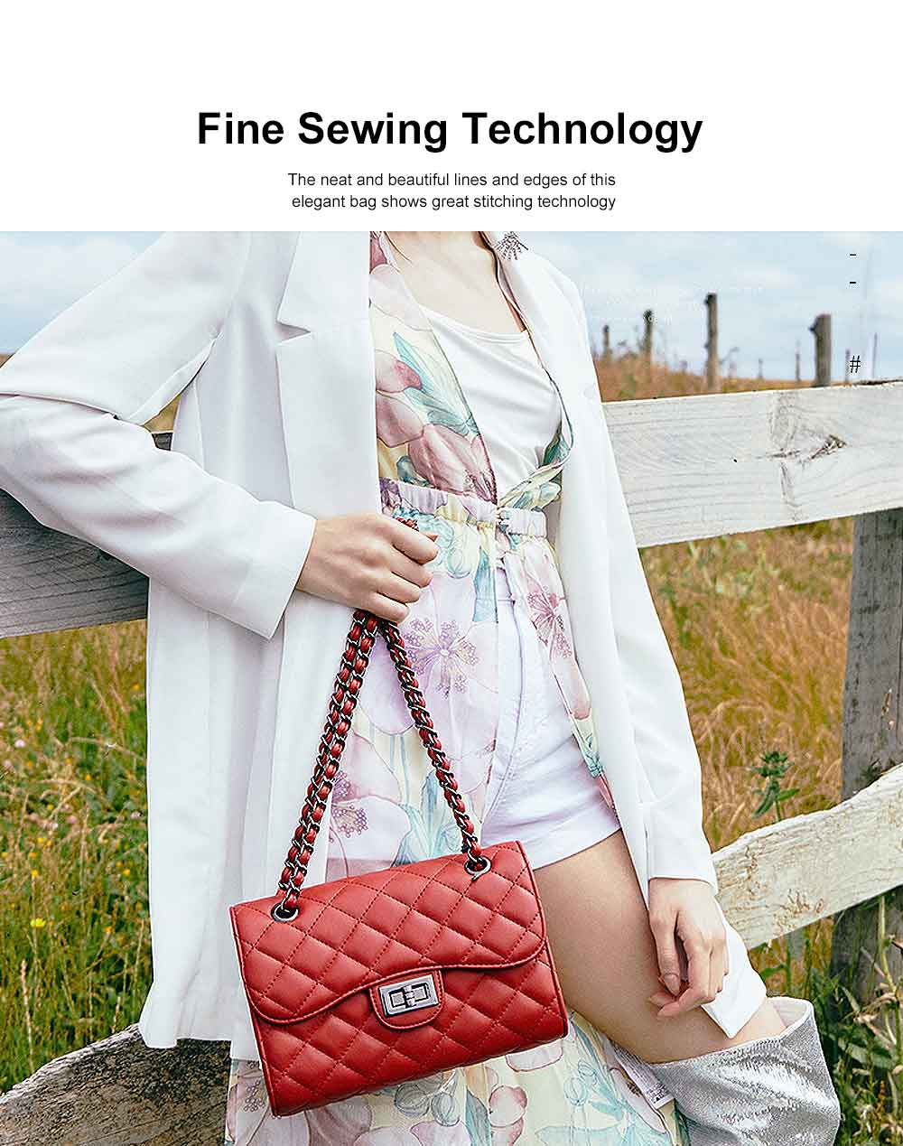 Fashionable Small Women Shoulder Bag with Rhombus Pattern Chain Casual Bag Messenger Bag 2