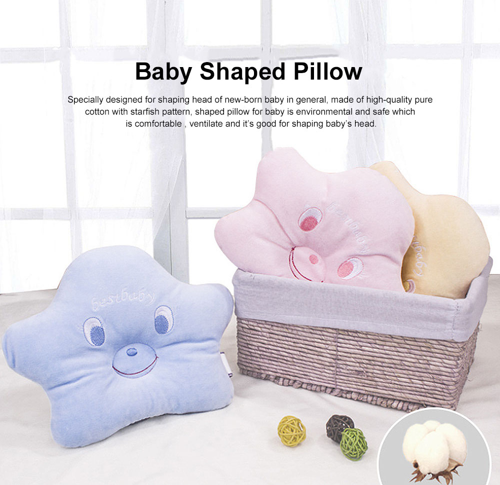 Pure Cotton Sea Star Shaped Pillow, Comfortable Baby Pillow Against Plagiocephaly for Infant Newborn Boys and Girls All Season 0