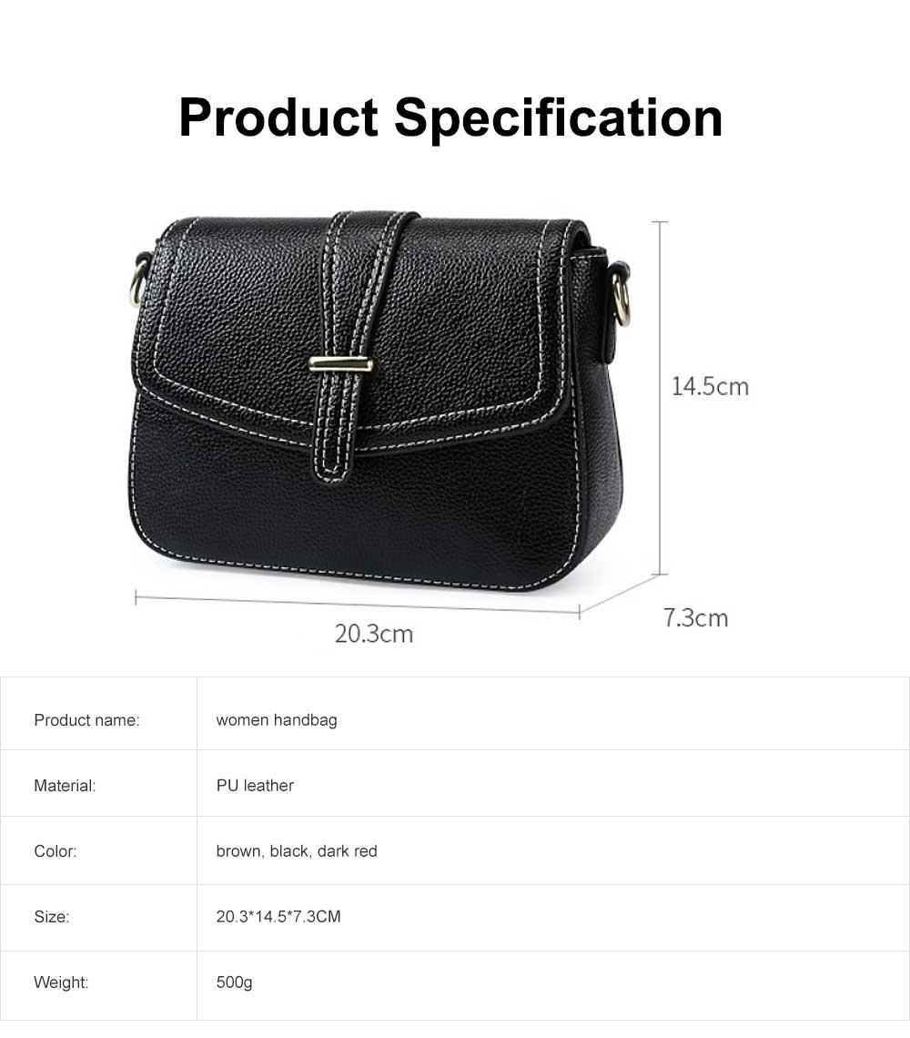 Stylish Women Shoulder Bag Compact PU Messenger Bag with Metal Buckle Spacious Storage Space 6