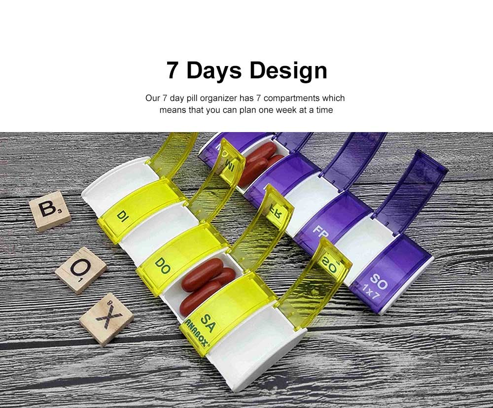 BPA Free Food Grade Weekly Pill Organizer with Open Design and Large Compartments to Hold Vitamins, Supplements and Medication 3