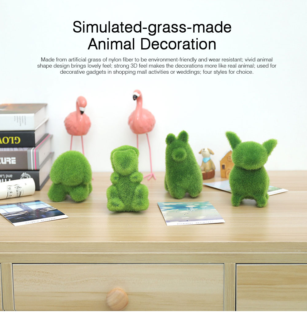 Simulated-grass-made Animal Decorations for Wedding Desktop Creative Animal Decorations for Party Animal Decorations Safari Party Supplies 0
