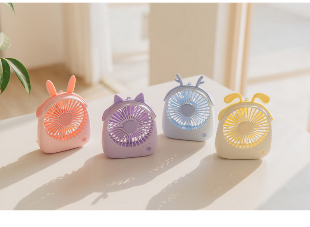 USB Lovely Mini Fan Portable Handheld Power Charged Mini Fans Plug In with Lights Girls Mini Fan 4
