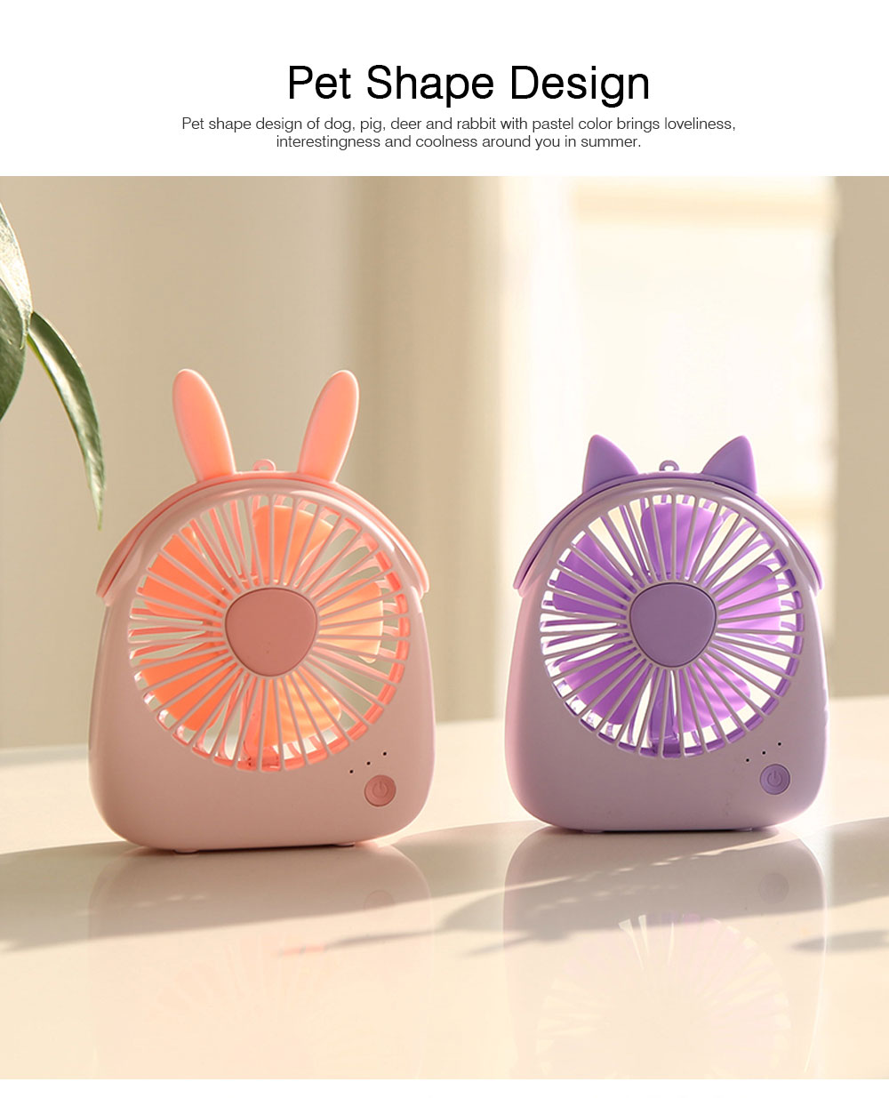 USB Lovely Mini Fan Portable Handheld Power Charged Mini Fans Plug In with Lights Girls Mini Fan 3