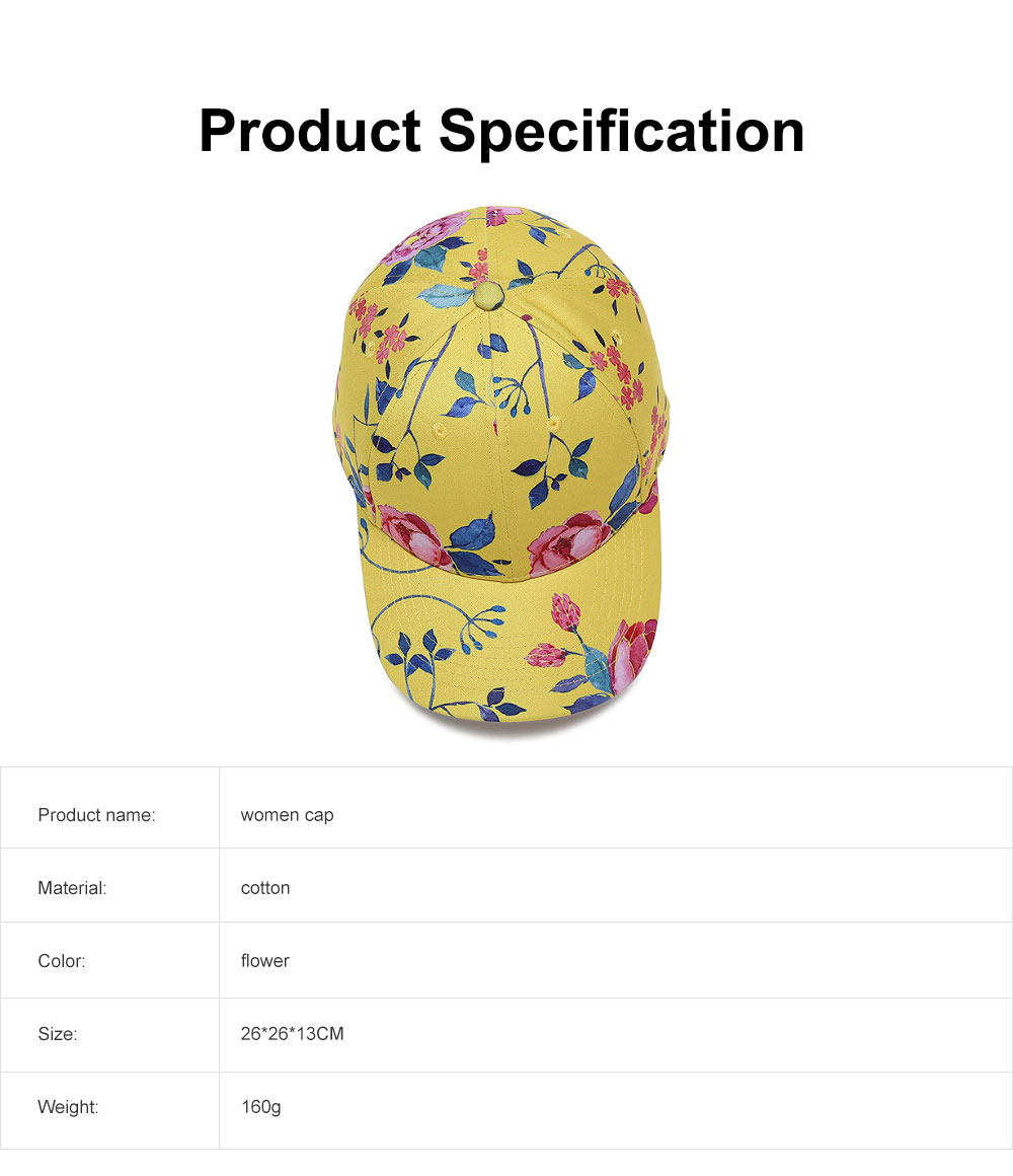 Summer Floral Printed Pattern Baseball Cap Fashionable Casual Outdoor Sun Cap with Hip Pop Style 6