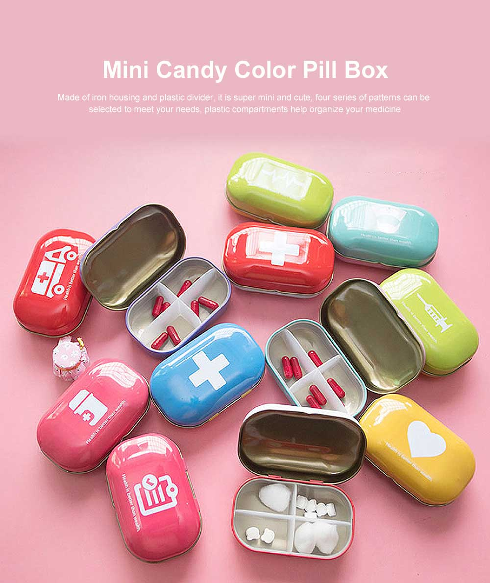 Mini Cute Candy Color Pill Box Diverse Patterns Iron Pill Case Four Compartments for Pill Vitamin 0