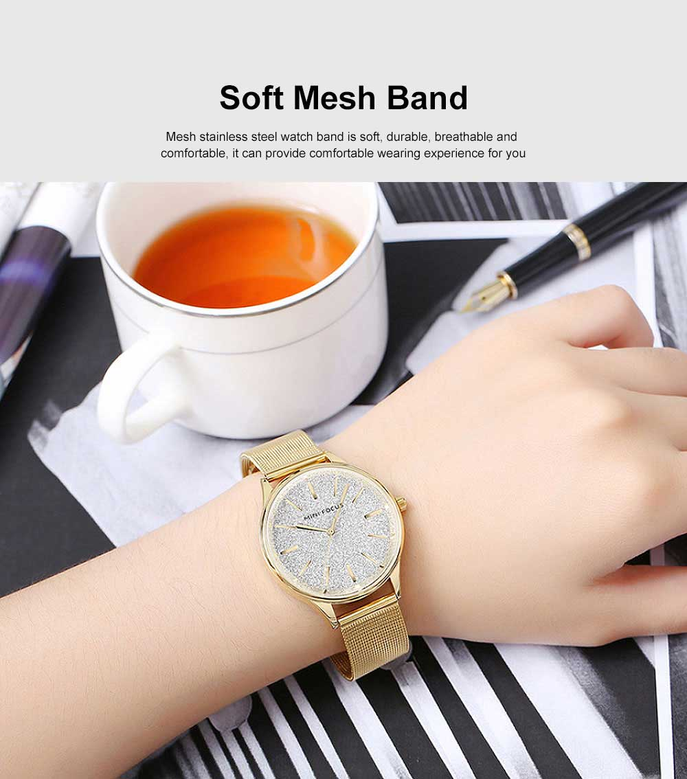 Japanese Women's Minimalist Ultra Thin Watch, Analog Quartz Stainless Steel Mesh Watch 1