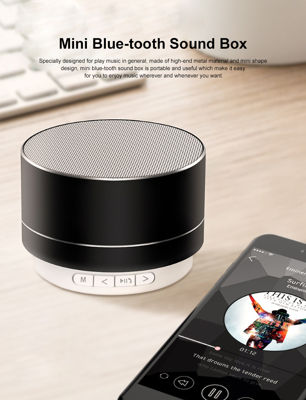 Metal Blue-tooth Sound Box, Subwoofer Mini Sound Box, Support TF Card Bluetooth Speaker 0