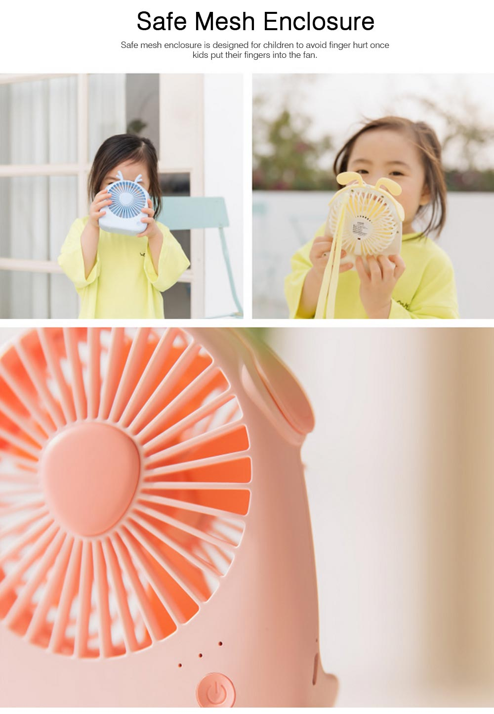 USB Lovely Mini Fan Portable Handheld Power Charged Mini Fans Plug In with Lights Girls Mini Fan 5