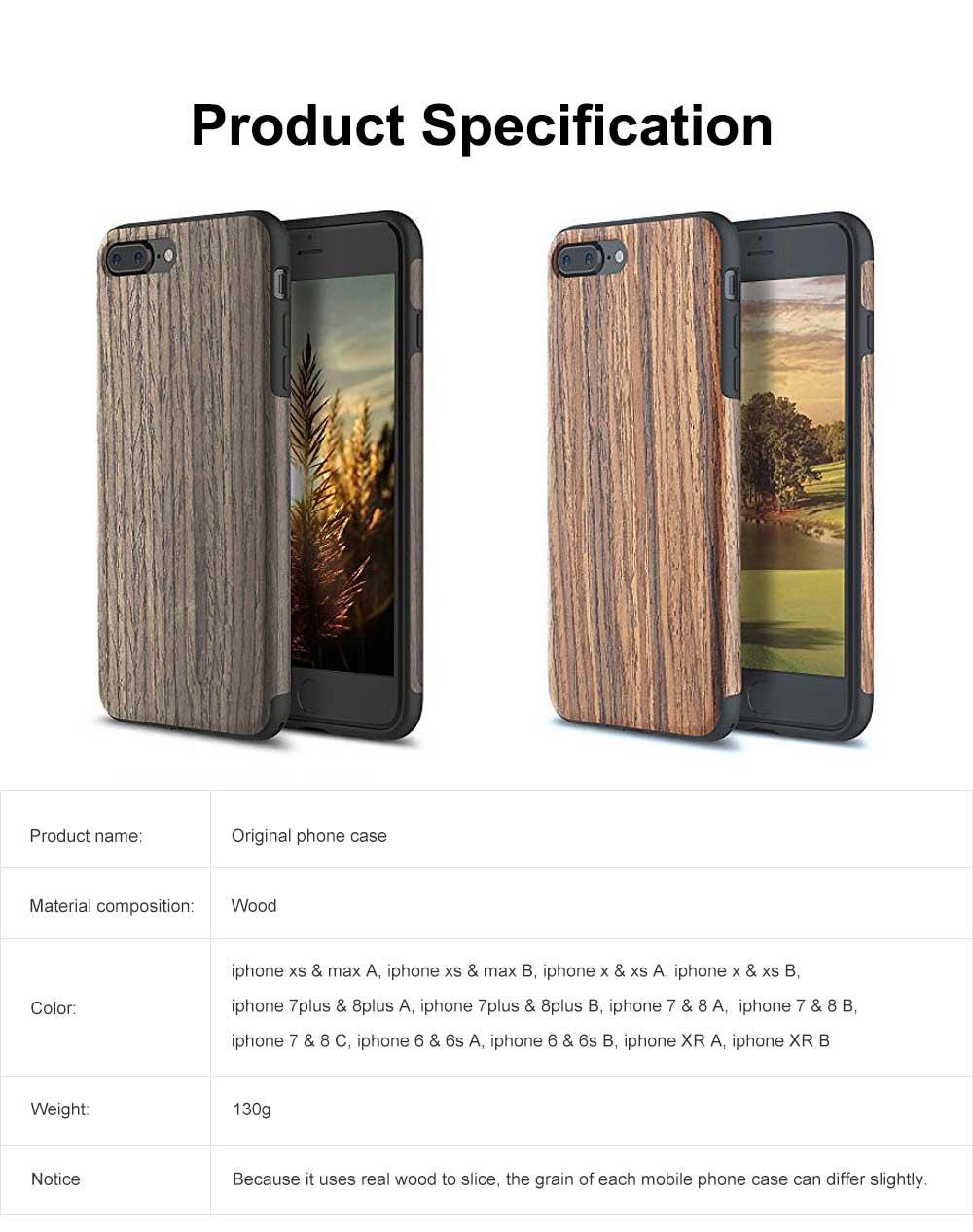 Silicone Anti-fall Phone Case, Fashion Original Phone Case, Wood-made Phone Case for iPhone XS Max, X, XS, 7 Plus, 8 Plus, 7, 8, 6, 6s, XR 6