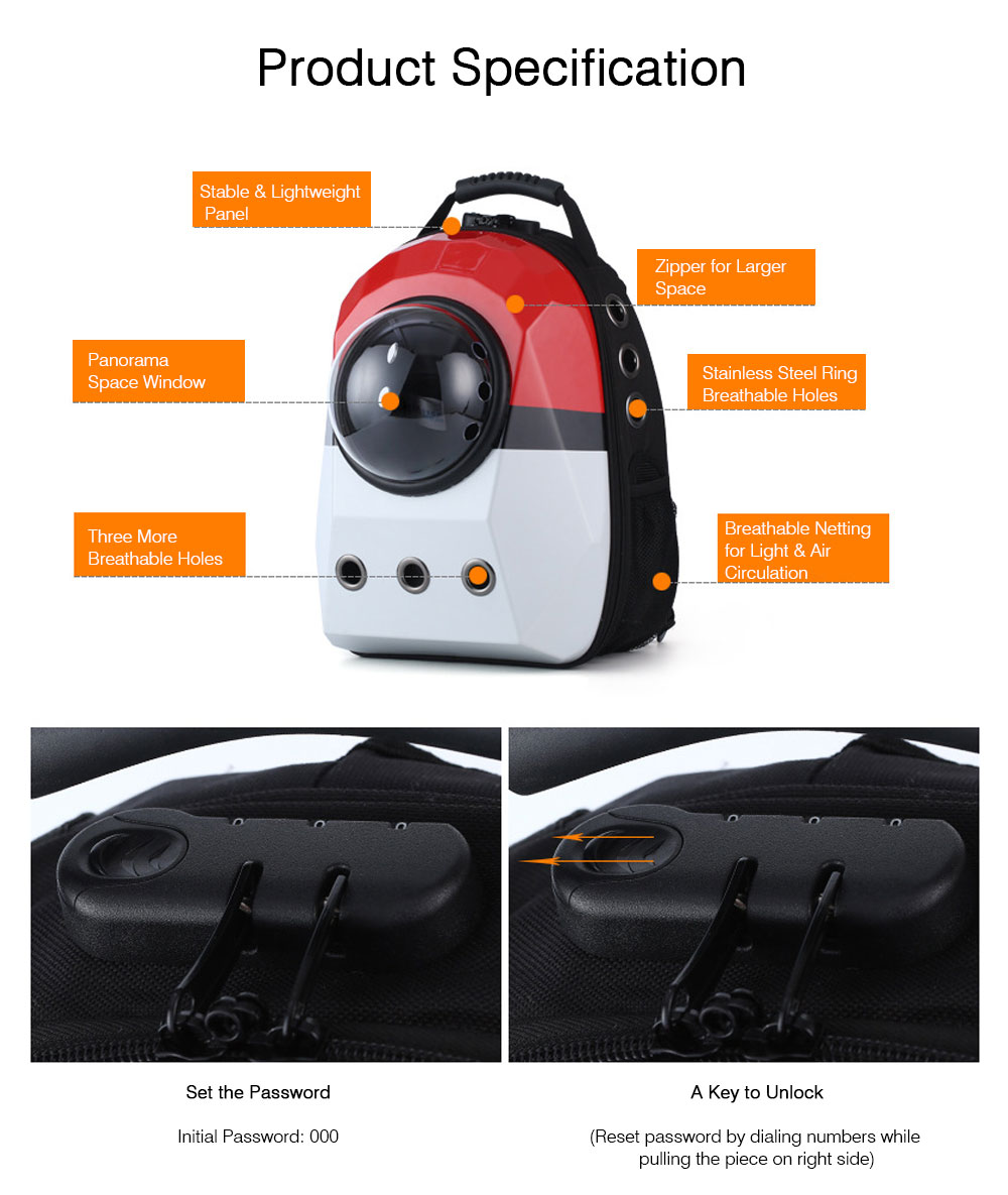 Coded Lock Large Pet Backpack for Dog and Cat Portable Pet Carrier Space Pet Backpack 8