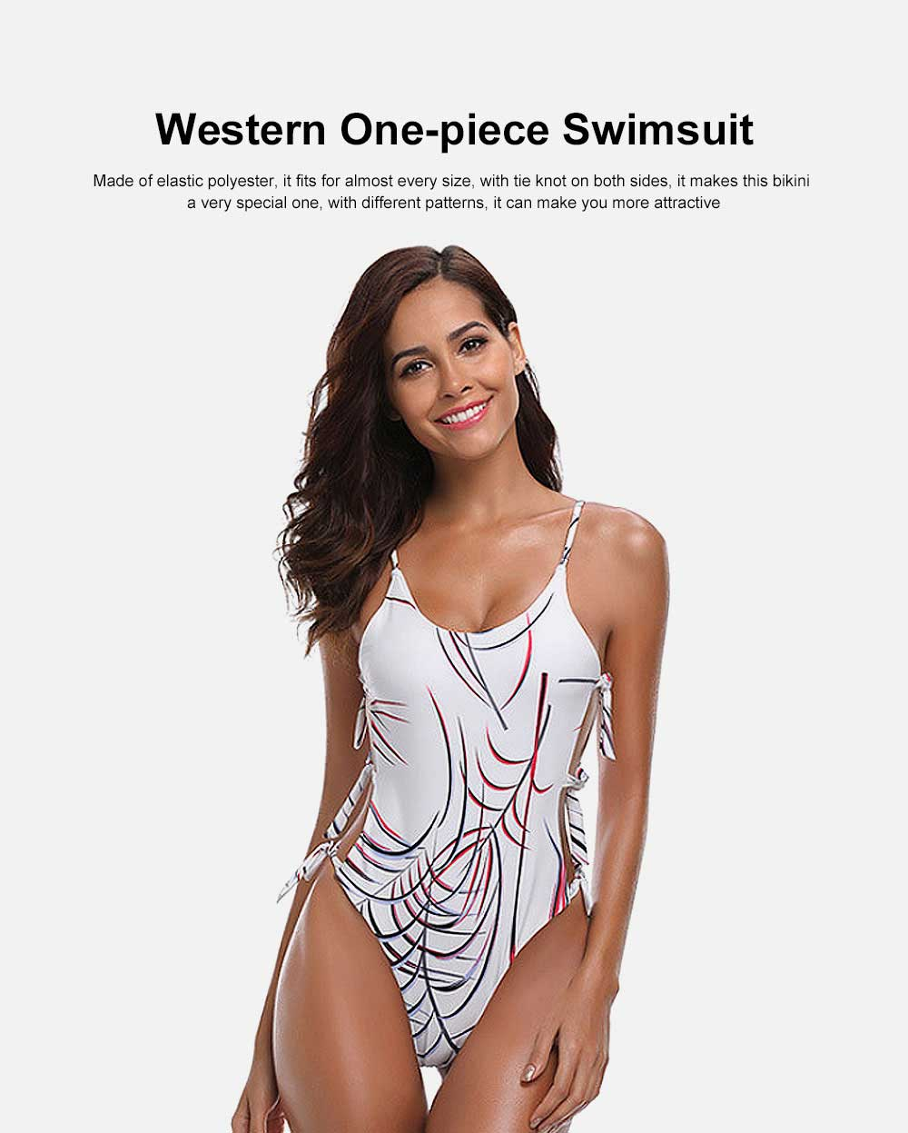 New Western One-piece Swimsuit Sexy Bikini with Special Tie Knot for Beach Swimming Pool 0