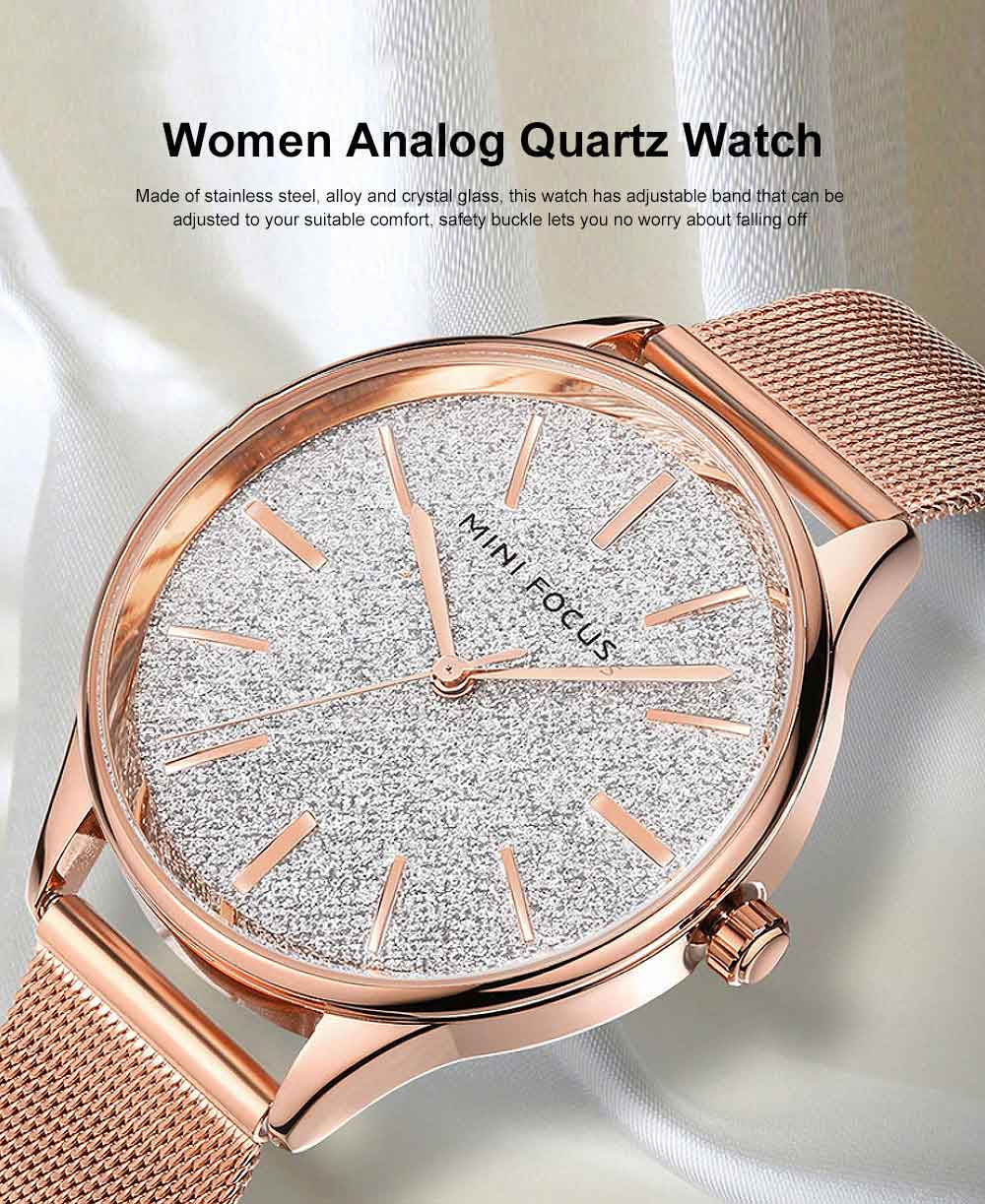 Japanese Women's Minimalist Ultra Thin Watch, Analog Quartz Stainless Steel Mesh Watch 0