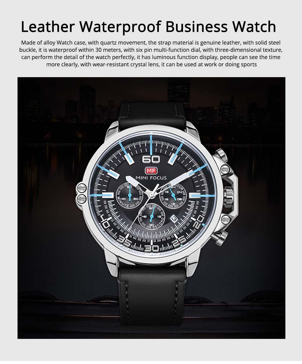 Waterproof Business Luxury Quartz Wrist Watch for Man, Genuine Leather Strap Band, Luminous Calendar Function 0