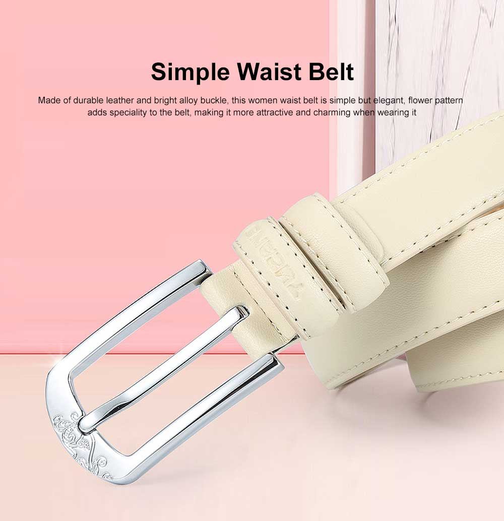 Women's Leather Belt Solid Color Alloy Buckle Simple Waist Belt with Flower Pattern for Girls Ladies 0
