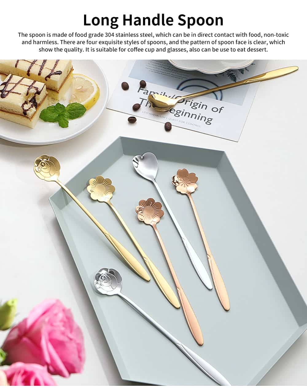 Stainless Steel Long Handle Spoon, Japanese Cherry Blossom Heart Shaped Loving Type Long Handle Coffee Spoon Ice Cream Spoon for Stirring 0