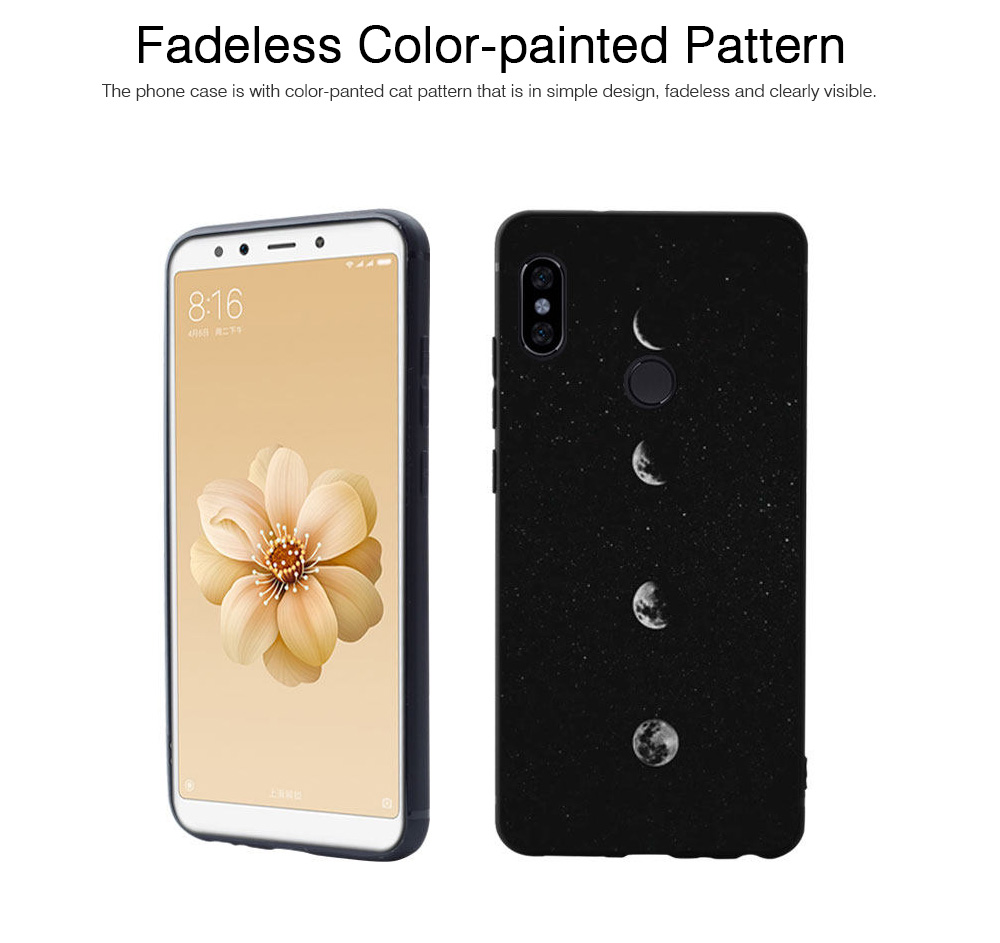 Soft Silicone Phone Case for Xiaomi 8, Color-Painted Moon Change Pattern Xiaomi 6X Phone Case 2