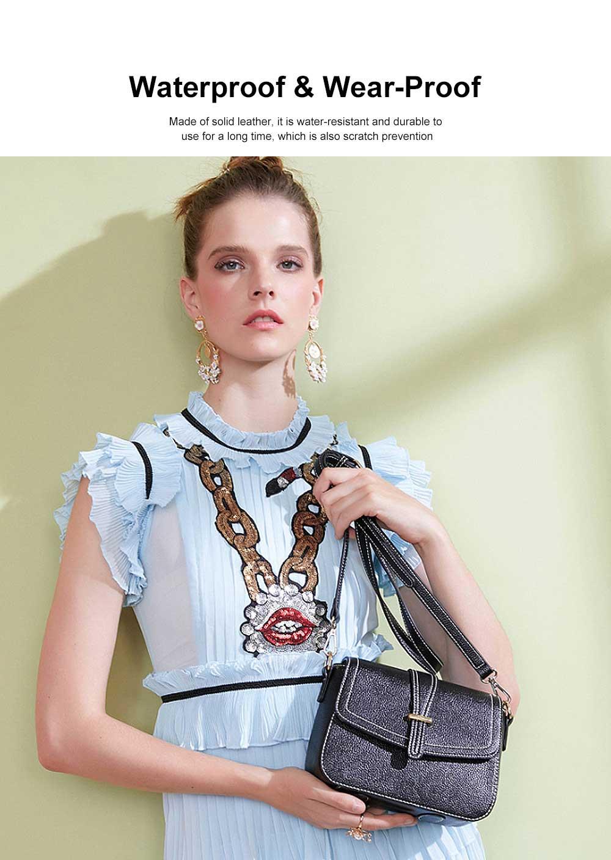 Stylish Women Shoulder Bag Compact PU Messenger Bag with Metal Buckle Spacious Storage Space 2